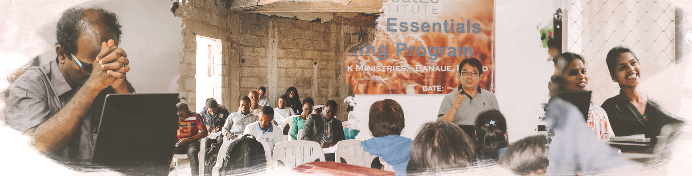 Photo banner with photos of pastors in training