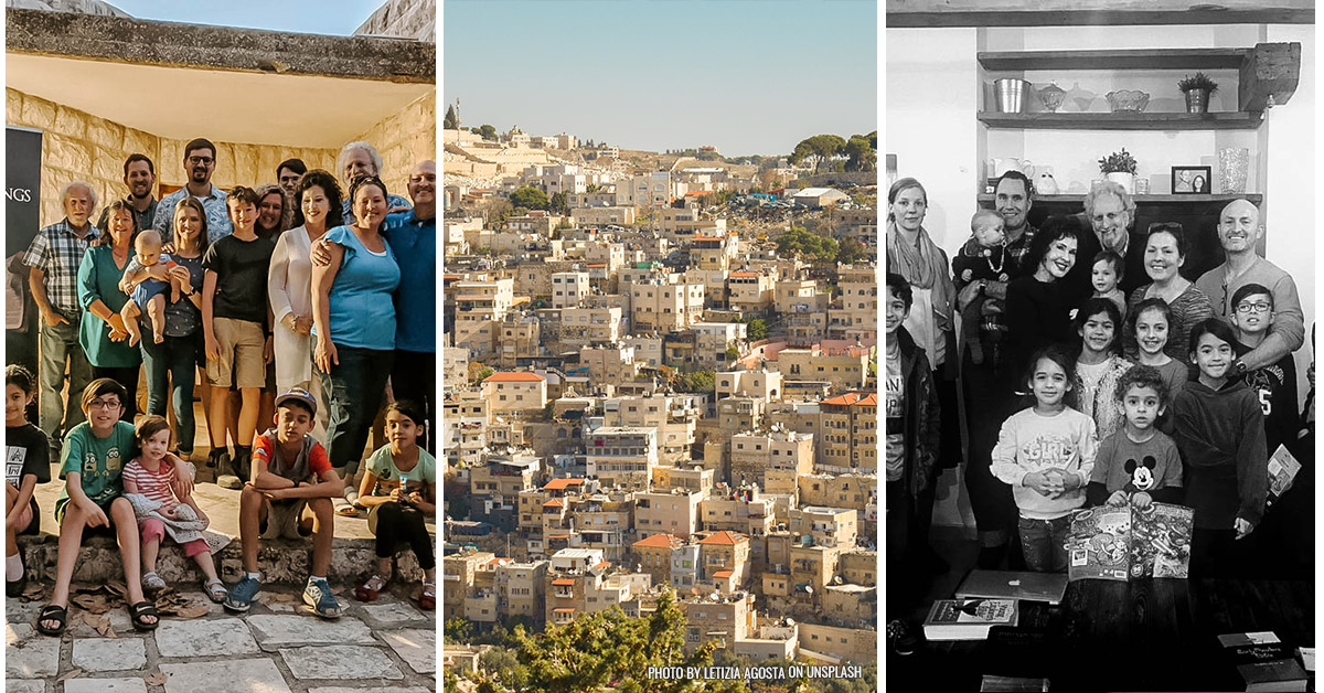 Left and Right photos: small group from King of Kings. Middle Photo: city view of Israel by Letizia Agosta on Unsplash