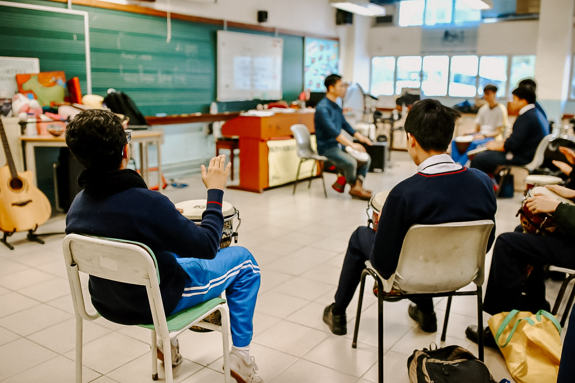 Photo of a group of students in a music class in Hong Kong