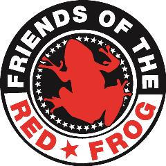 "red frog silhouette with text ""friends of the red frog"" framing it in a circle"