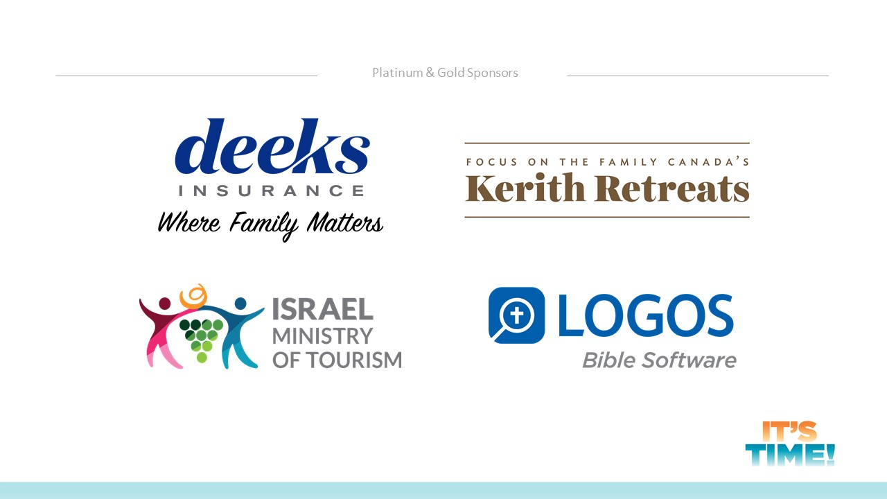The Platinum and gold level sponsors of the general conference: deeks insurance, Israel tourism, logos bible software, kerith retreats