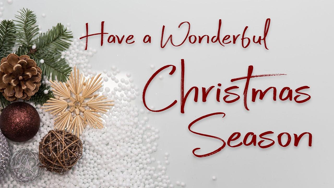 "Stock photo of minimalist Christmas greenery/decor with the words ""Have A Wonderful Christmas Season"" displayed"