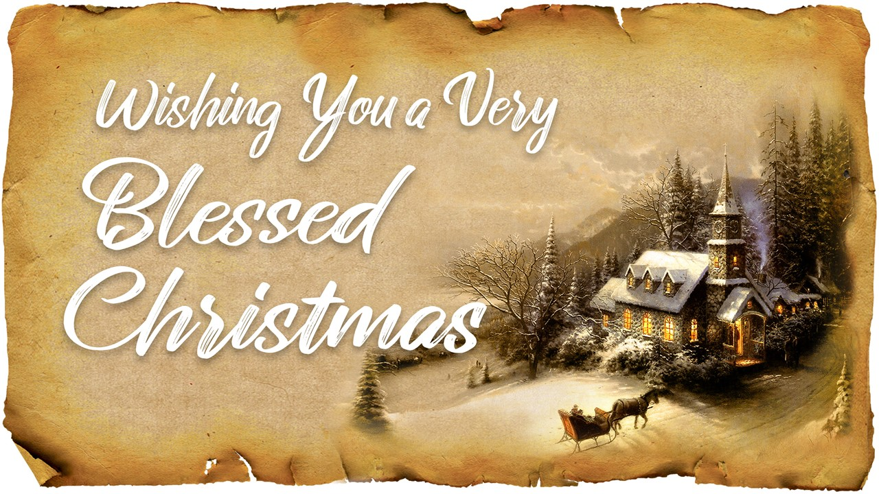 "Graphic of rough-edged Christmas paper with the words ""Wishing You A Very Blessed Christmas"" displayed"