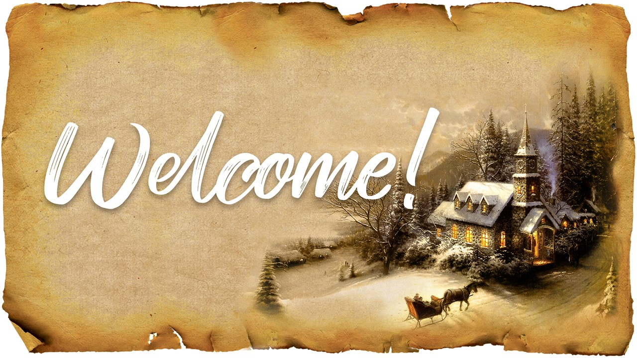 "Graphic of rough-edged Christmas paper with the words ""Welcome"" displayed"